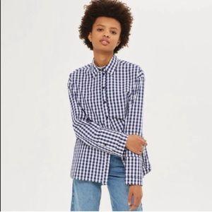 TOPSHOP Gingham Double Cuff Shirt